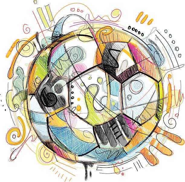 fußball skizze - fußballkunst stock-grafiken, -clipart, -cartoons und -symbole