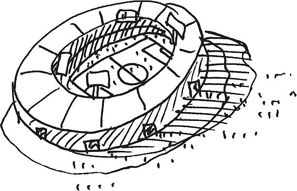 Soccer Stadium Sketch Hand-drawn vector sketch of a Soccer Stadium. Black-and-White sketch on a transparent background (.eps-file). Included files: EPS (v8) and Hi-Res JPG. soccer stock illustrations