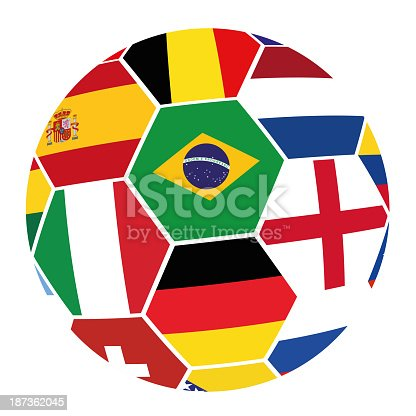 istock Soccer with Flags from World Cup 2014 187362045