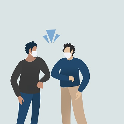 Social distancing people, Elbow bumping project from coronavirus