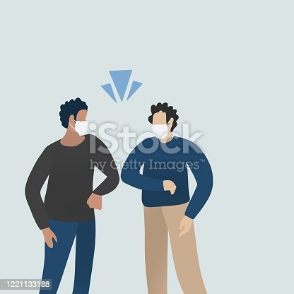 istock Social distancing people, Elbow bumping project from coronavirus 1221133188