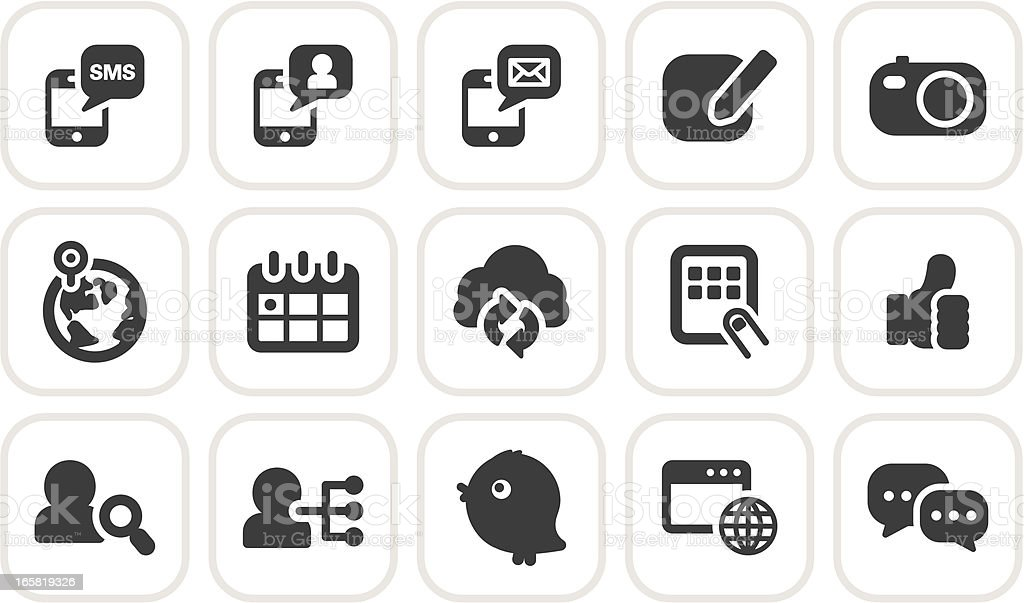 social media and communication icons royalty-free stock vector art