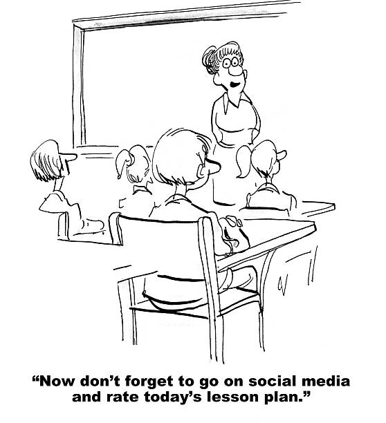 Social Media and School Cartoon about education.  The teacher asked the students to rate today's lesson plan on social media.  elementary school teacher stock illustrations