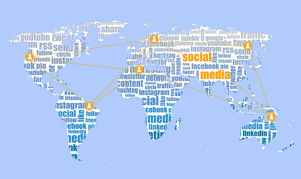 social media brands, tagcloud and world map - google stock illustrations