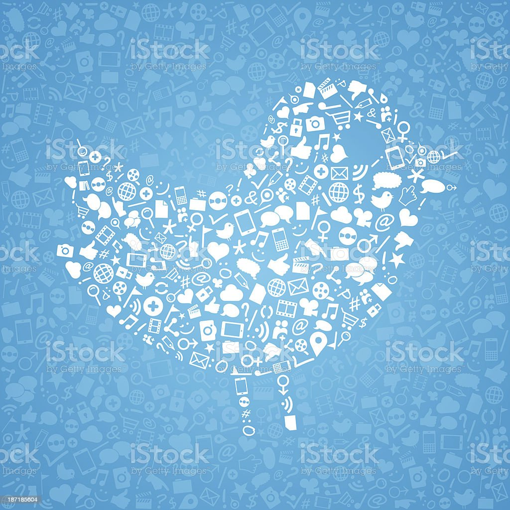 Social media, icons arranged in the shape of bird royalty-free stock vector art