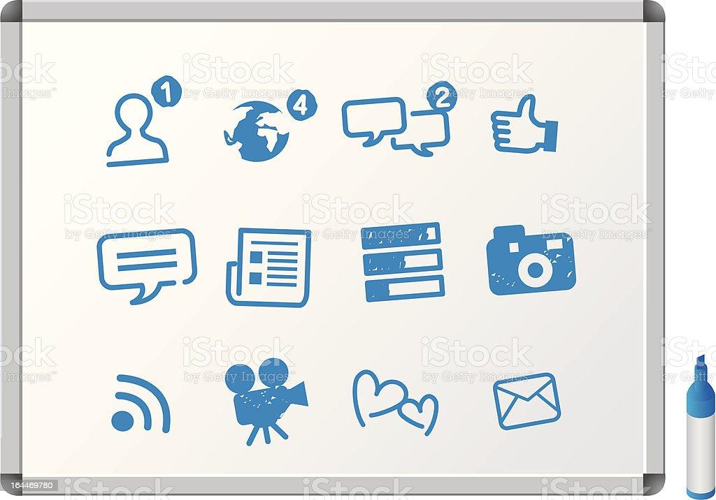 social media icons on whiteboard royalty-free stock vector art