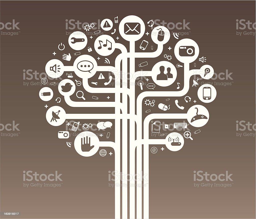 Social media tree white royalty-free stock vector art