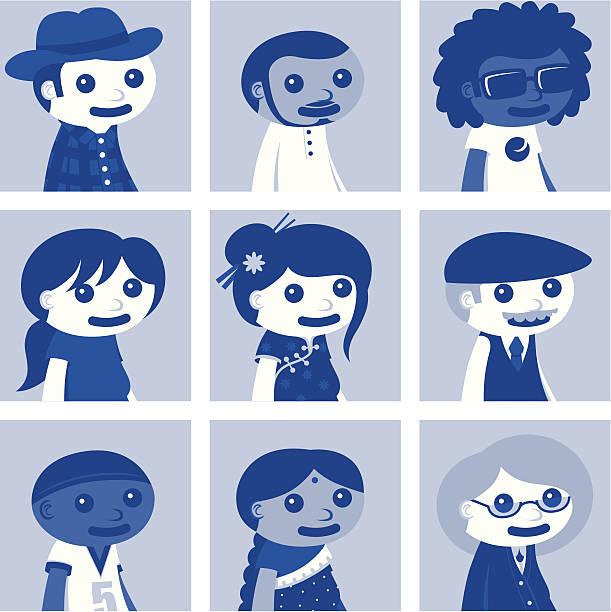social network avatars - set two - old man sunglasses stock illustrations, clip art, cartoons, & icons