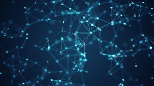 Soziale Netzwerkverbindungen und Informationstechnologie des Internets der Dinge IOT Big Data Cloud Computing. – Vektorgrafik