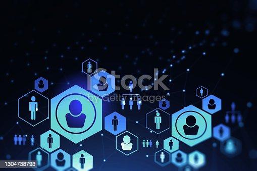 istock Social network interface over dark blue background 1304738793