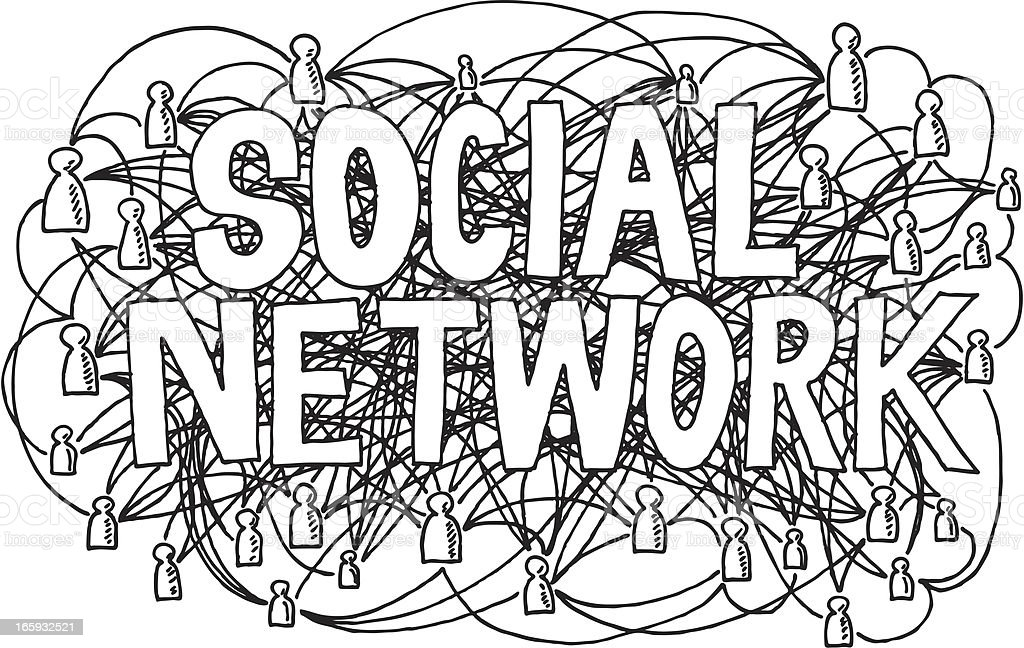 Social Network Lettering Drawing royalty-free stock vector art
