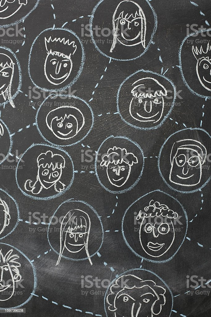 Social network of people faces connected with lines and circles royalty-free stock vector art