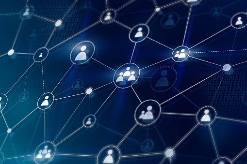 843593806 istock photo Social networking and business team connection concept. Digital web network of people. 1203728704
