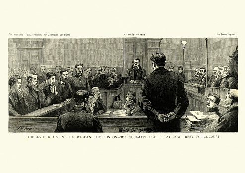 Vintage engraving of Socialist leaders on trail for the  West End Riots, London, 1886. The West End Riots followed a counter-demonstration by the Social Democratic Federation against a meeting of the Fair Trade League.
