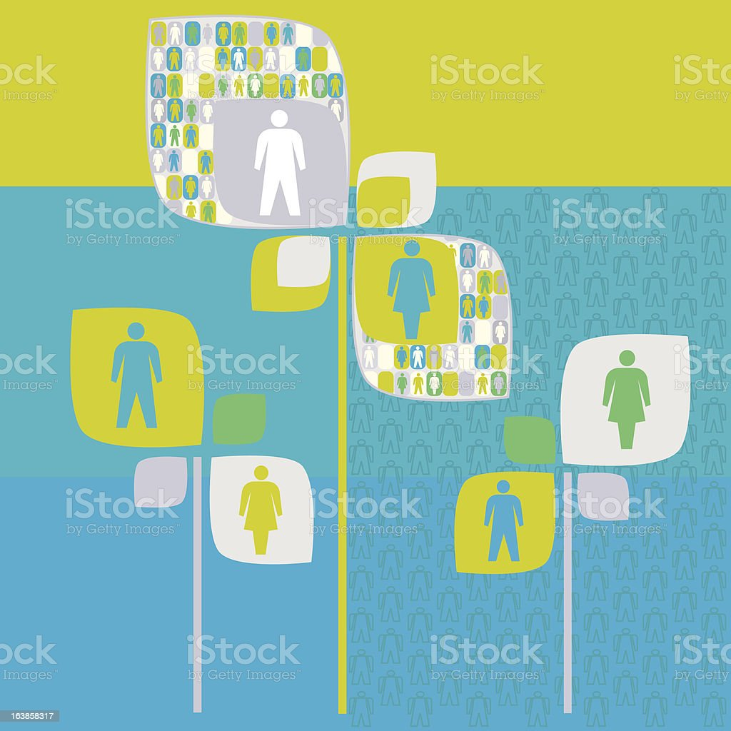 Sociology human tree with people pictogram vector art illustration