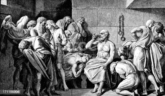 An Engraving From 1882 Showing The Philosopher Socrates Drinking Poison After He Received The Death Penalty For Corrupting The Youth Of Athens.
