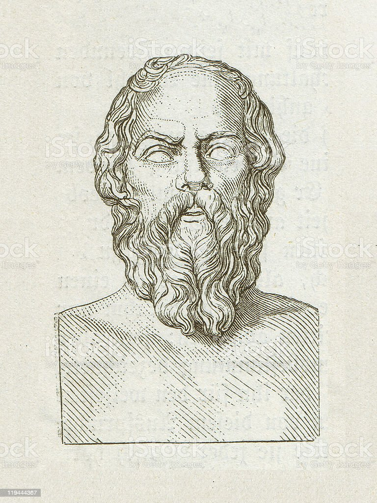 Socrates (469 BC-399 BC), Greek philosopher, wood engraving, published 1882 royalty-free stock vector art