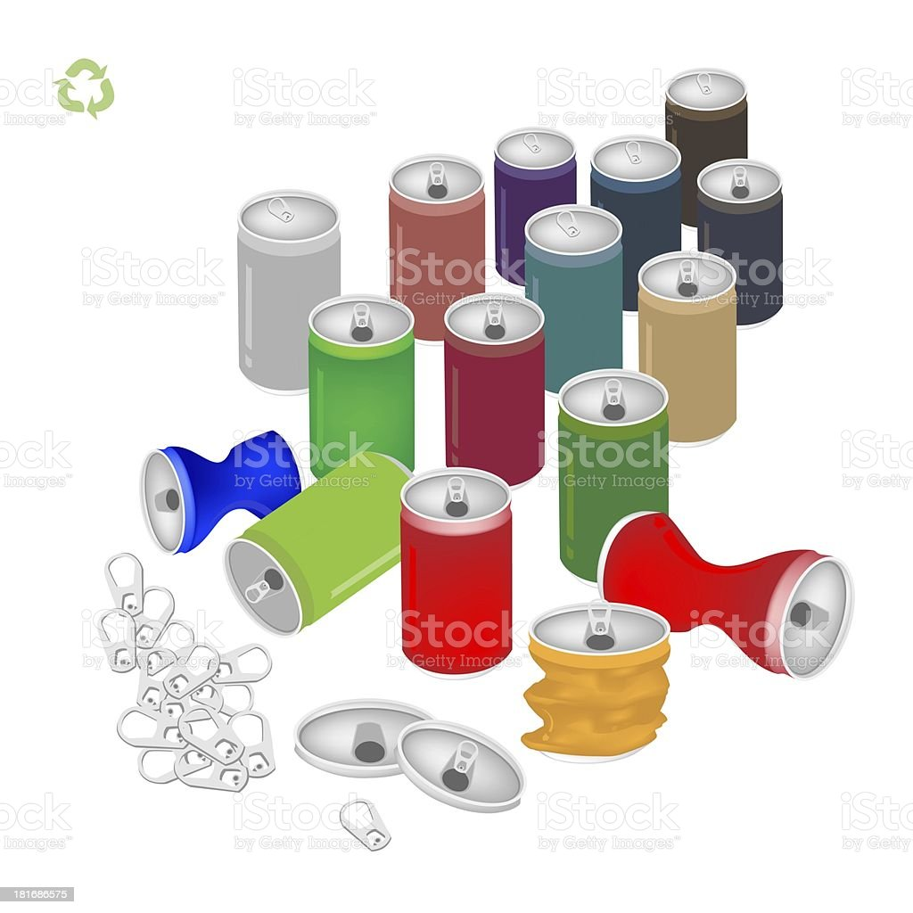 Soda Cans with Recycle Symbol for Save The World royalty-free stock vector art