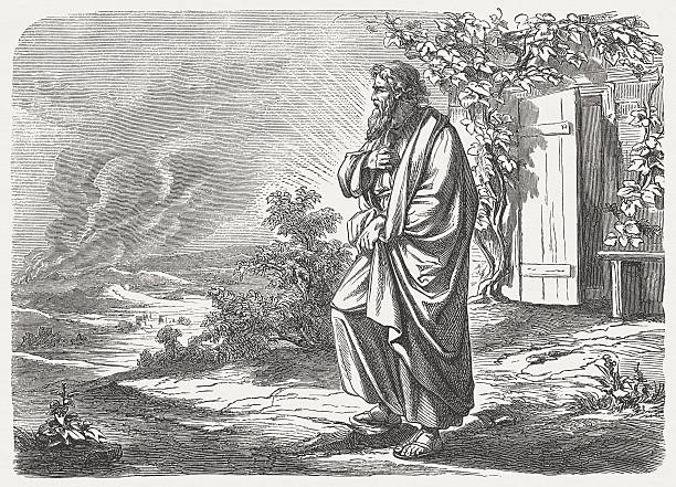 "Sodom and Gomorrah (Genesis 19, 27-28) ""Abraham got up early in the morning and went to the place where he had stood before the Lord. He looked out toward Sodom and Gomorrah and all the land of that region. As he did so, he saw the smoke rising up from the land like smoke from a furnace. (Genesis, Chapter 19, 27-28). Woodcut after a drawing by Julius Schnorr von Carolsfeld (German painter, 1794 - 1872) from my archive, published in 1877."" Abraham stock illustrations"
