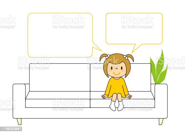 Sofa Girl Blowout Illustration Clip Art - Arte vetorial de stock e mais imagens de Adulto