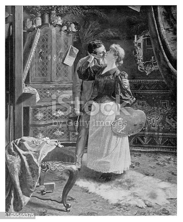 Soft kiss - Scanned 1894 Engraving