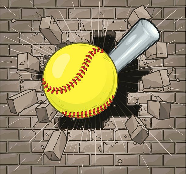Softball Brick Wall vector art illustration