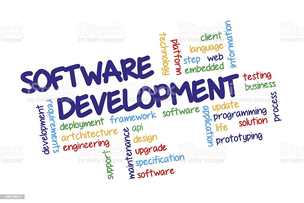 Software development concept in tag cloud vector art illustration