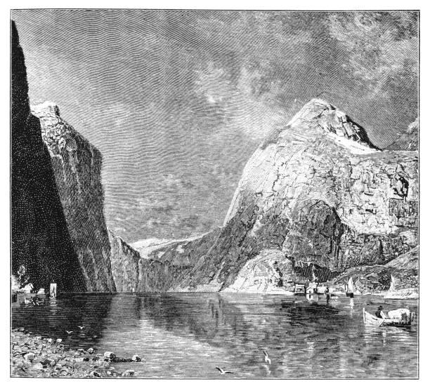 illustrazioni stock, clip art, cartoni animati e icone di tendenza di sognefjord, norway | norway's longest and deepest fjord - fiordi