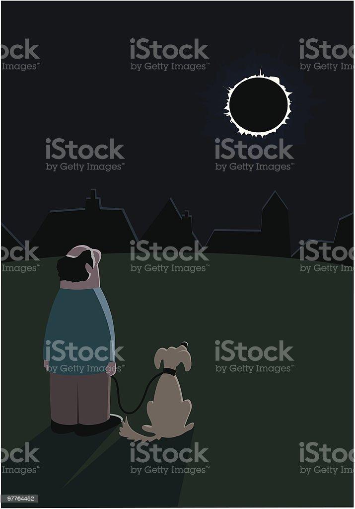 Solar Eclipse watchers royalty-free stock vector art