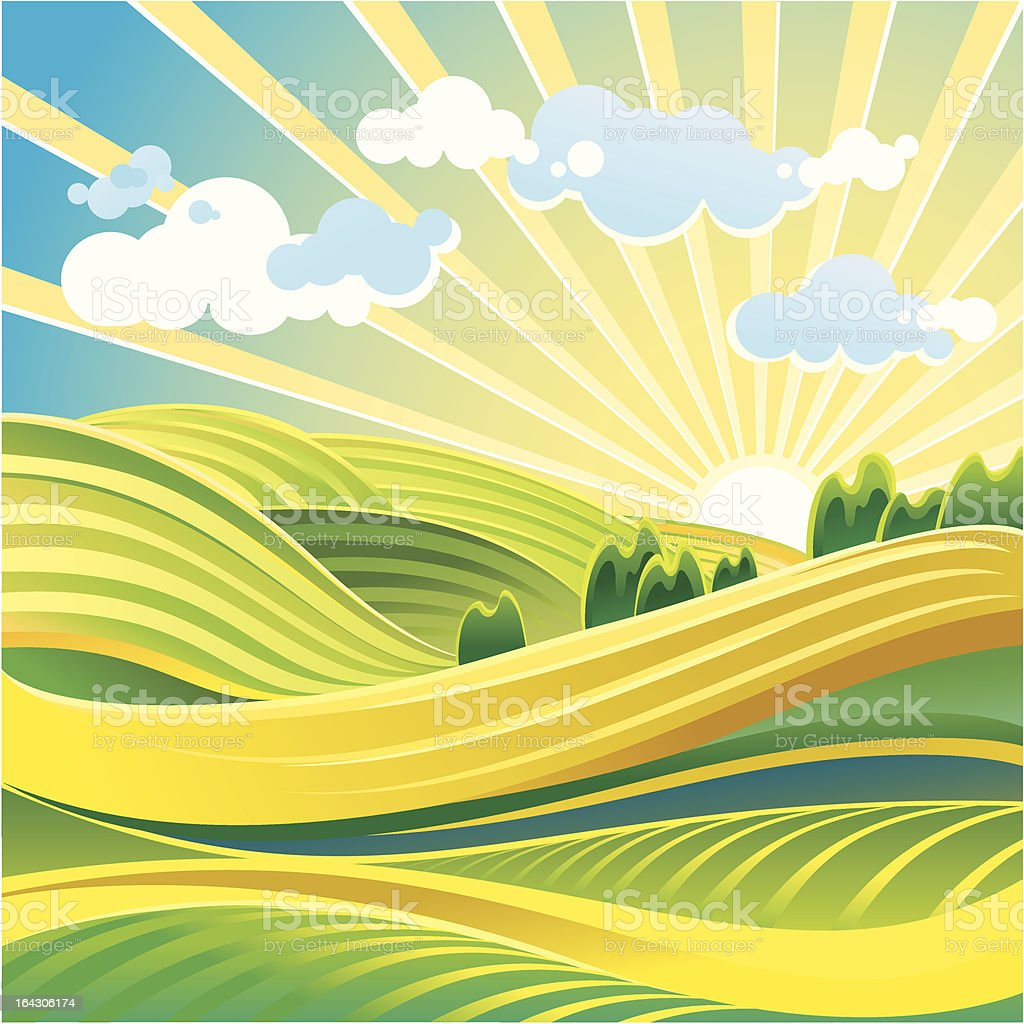 Solar summer landscape royalty-free stock vector art