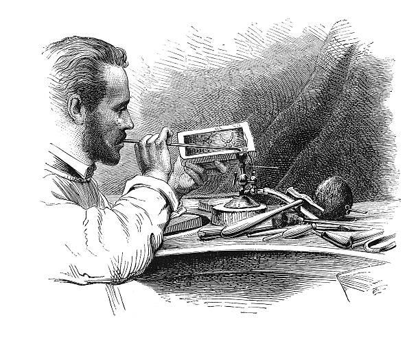 illustrazioni stock, clip art, cartoni animati e icone di tendenza di antico saldatura con cerbottana (incisione) - uomo artigiano gioielli