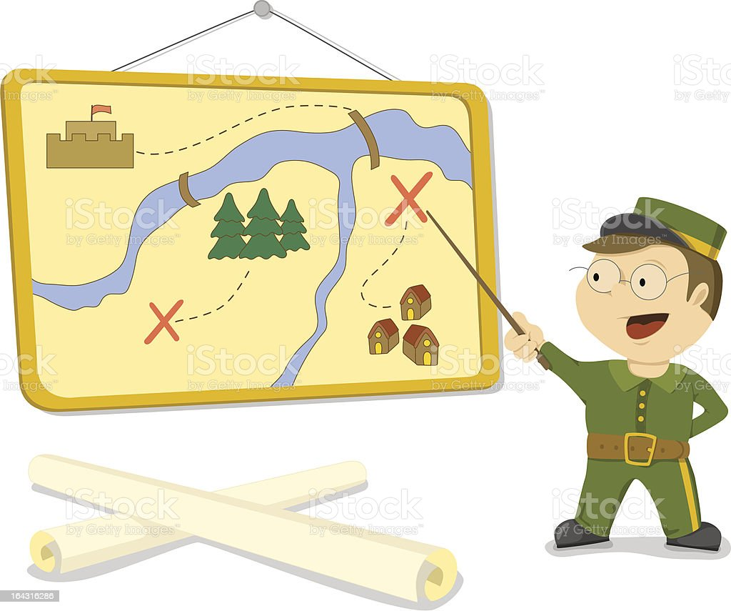 Soldier explains plan of action royalty-free stock vector art