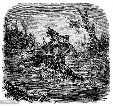 Soldier riding horse through river