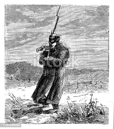 Illustration of a Soldier walking on a strong wind
