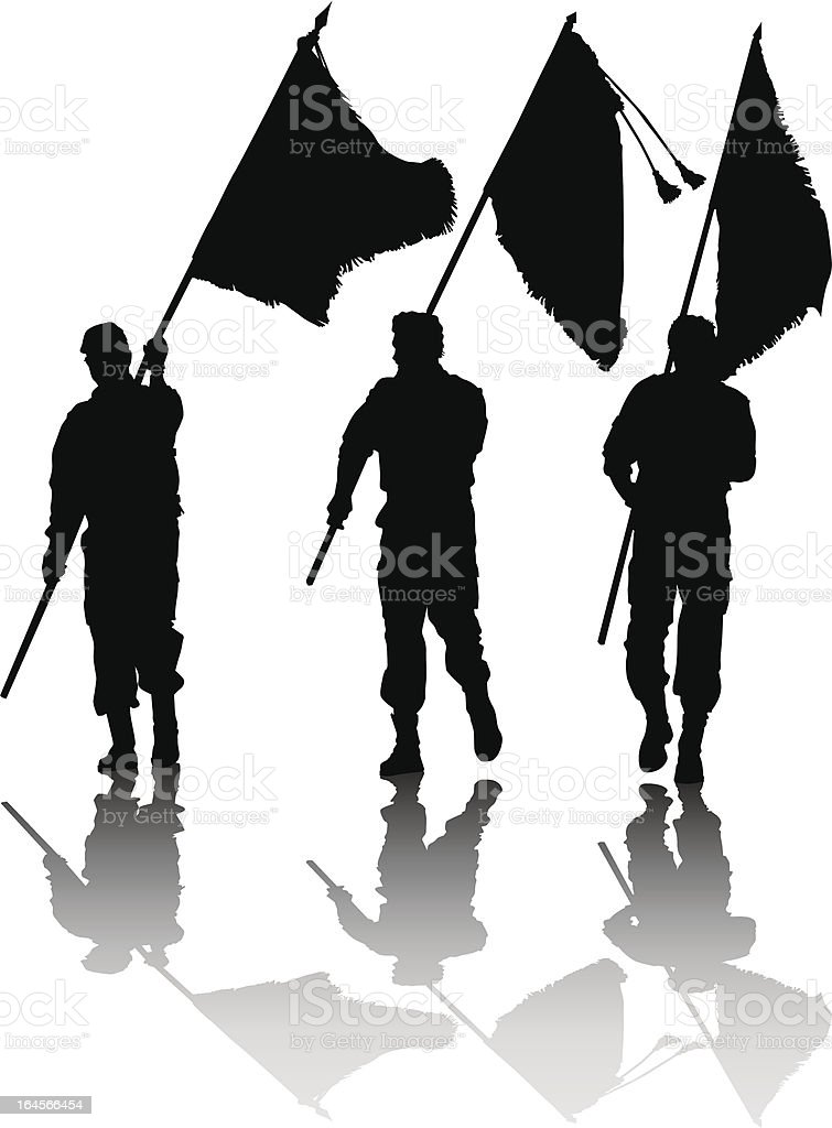 Soldier with flag royalty-free stock vector art