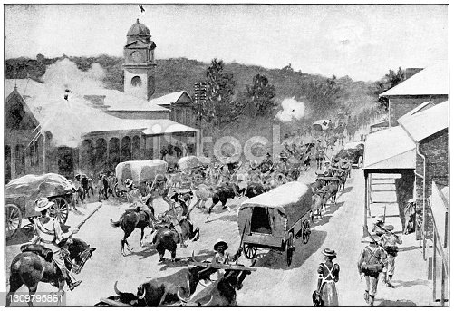 Soldiers being deployed during the Second Boer War in Ladysmith, South Africa. Vintage etching circa 19th century.