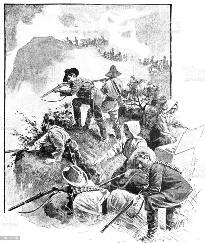 Soldiers Fighting During Angloboer War Stock Illustration