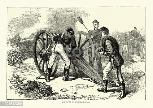 Vintage engraving of Soldiers firing canon at the Battle of Chancellorsville, 19th Century. The Battle of Chancellorsville was a major battle of the American Civil War (1861–1865). It was fought from April 30 to May 6, 1863, in Spotsylvania County, Virginia, near the village of Chancellorsville.