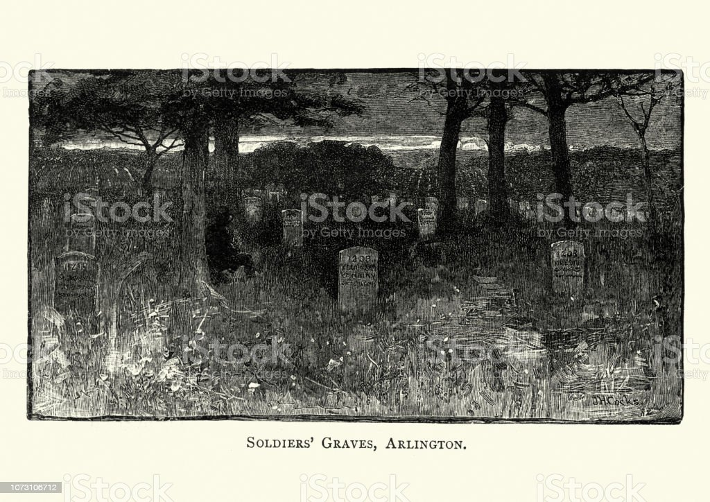 Soldiers, graves at Arlington National Cemetery, 19th Century vector art illustration