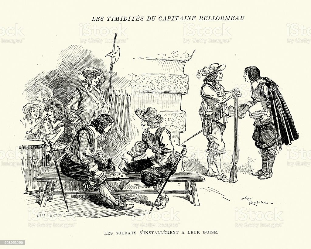 Soldiers relaxing in their barracks, 17th Century vector art illustration