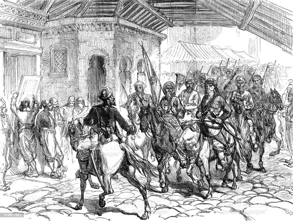 Passeio de soldados através do bazar em Plowdiw, Bulgária - ilustração de arte em vetor