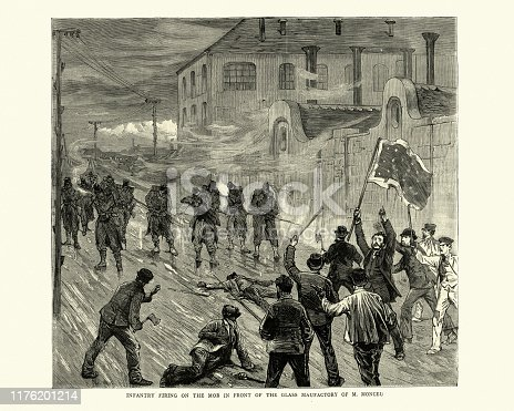 Vintage engraving of Soldiers shooting at mob in front of the glass factory of M. Monceu, Belgian strike of 1886. The Belgian strikes of 1886, occasionally known as the social revolt of 1886 (French: Revolte sociale de 1886), was a violent period of industrial strikes and riots in Belgium between 18–29 March 1886