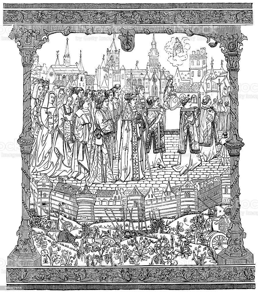 Solemn procession vector art illustration