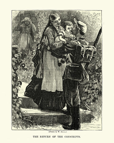 Solider returing home from war, to wife and child, Victorian