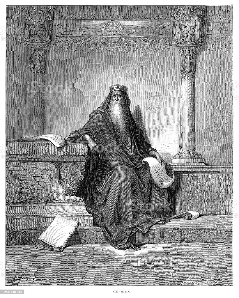 Solomon engraving 1870 vector art illustration
