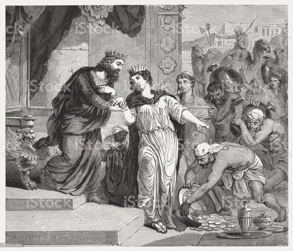 Solomon Receives the Queen of Sheba (1 Kings 10) vector art illustration