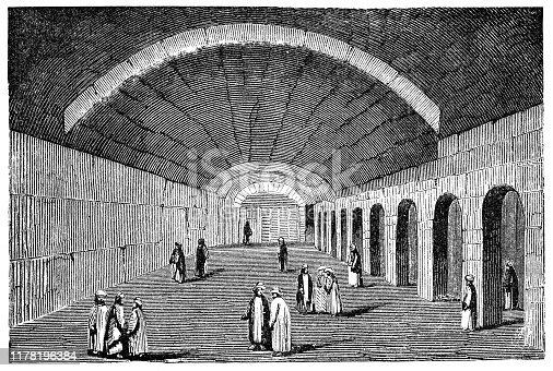 Solomon's Stables under Al-Aqsa Mosque in Jerusalem, Israel. Vintage etching circa mid 19th century.