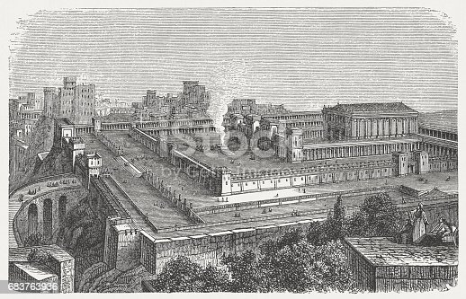 Visual reconstruction of Solomon's Temple in Jerusalem. Wood engraving, published in 1880.