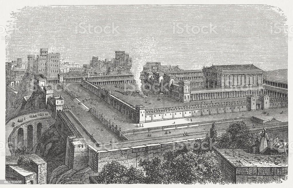 Solomon's Temple in Jerusalem, visual reconstruction, wood engraving, published 1880 vector art illustration