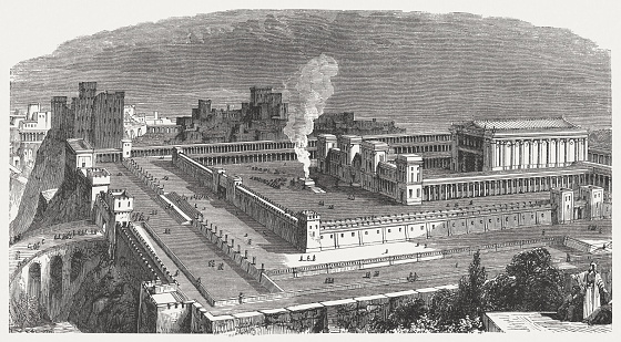 Solomon's Temple in Jerusalem, visual reconstruction, wood engraving, published 1886